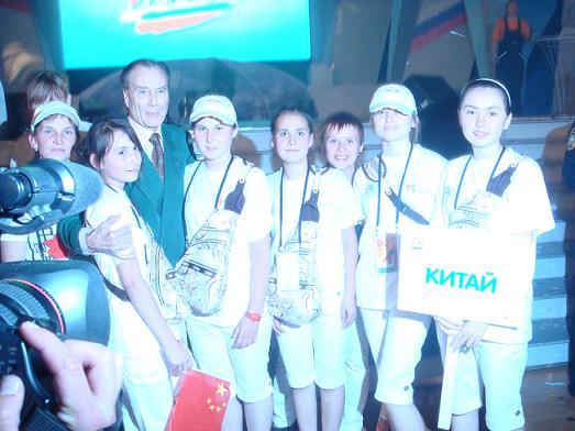 Команда КССК на Спортфестивале с председателем МСРС графом П. Шереметевым. Москва. Июль 2008